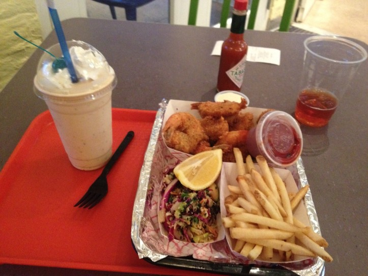 My fabulous meal, fried shrimp, fries, asian cole slaw and a butter pecan shake.