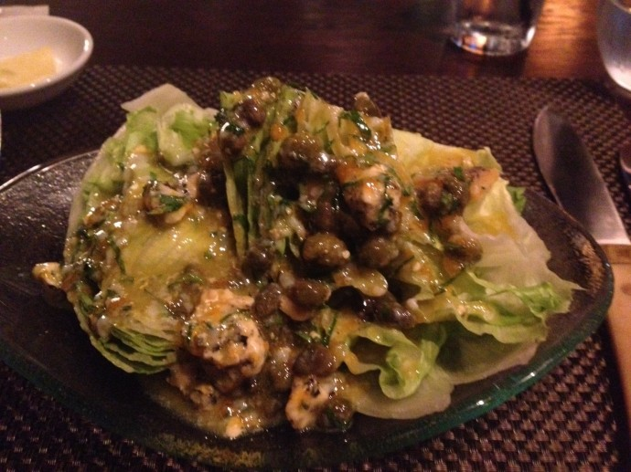 Blue cheese salad with capers, it was interesting