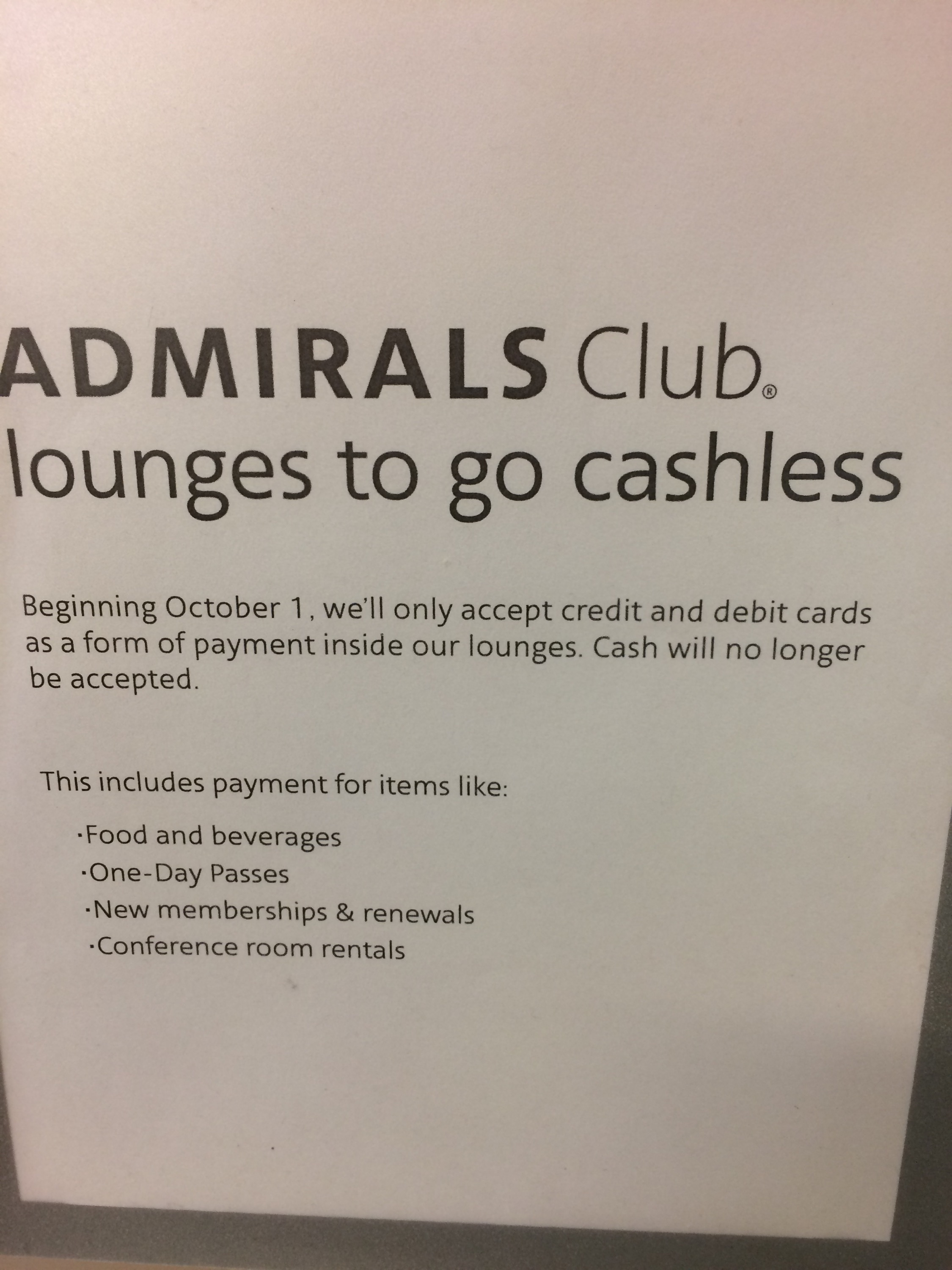 Got Cash Don T Bother Admirals Club To Go Cashless